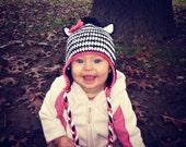Crochet Zebra hat, beanie, all sizes,
