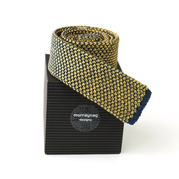 Skinny Knit Tie, Yellow Silk and Blue Cashmere Wool, Textured Waffle Design