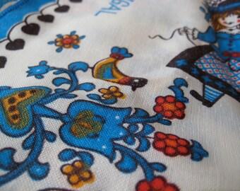 60s folk napkin portugal souvenir place mat - deorative linen - vintage - blue