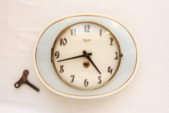 1940s retro wall clock, blue kitchen, ceramic clock, Bayard French clock, working antique clock and key, Art Deco, retro decor