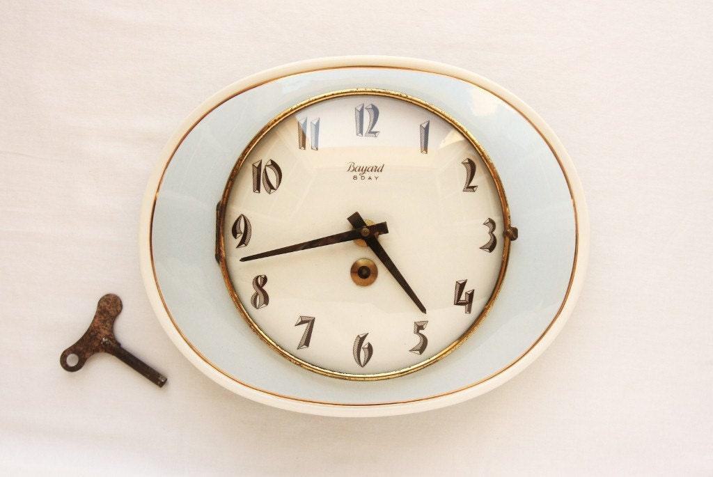 1940s retro wall clock blue kitchen ceramic clock bayard