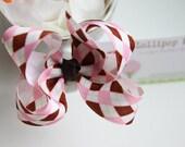 Pink Brown Argyle Hair Bow Hair Clip Kids Hair Bow Girls Hair Bow Toddler Hair Bow Baby Hair Bow