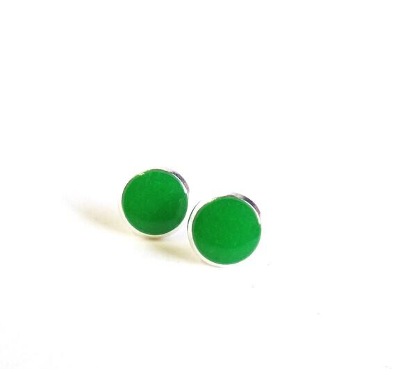 Tiny earring studs grass green stud earrings