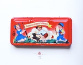 Vintage Tin Box Children's Red Painting Watercolours Illustrated Box Collectible Christmas Stocking Stuffer