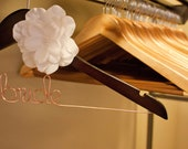 Wedding Dress Hanger, Bride Hanger, Wedding Hanger, Personalized Hanger, Bridesmaid Hangers, Bride Gift, White Flower
