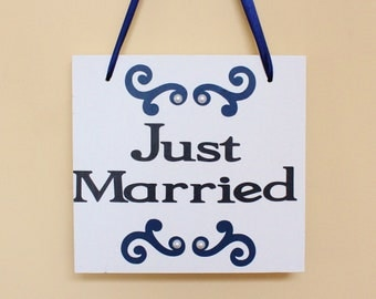 Just Married wood sign - wedding decoration - wood photography