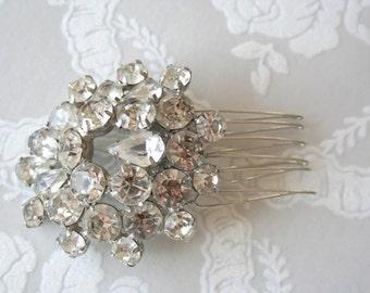 Vintage rhinestone bridal hair comb : piece 001