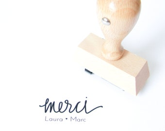 Personalized Wedding Calligraphy Merci Stamp - Handwritten Calligraphy thank you wedding rubber stamp personalized with names - H0017