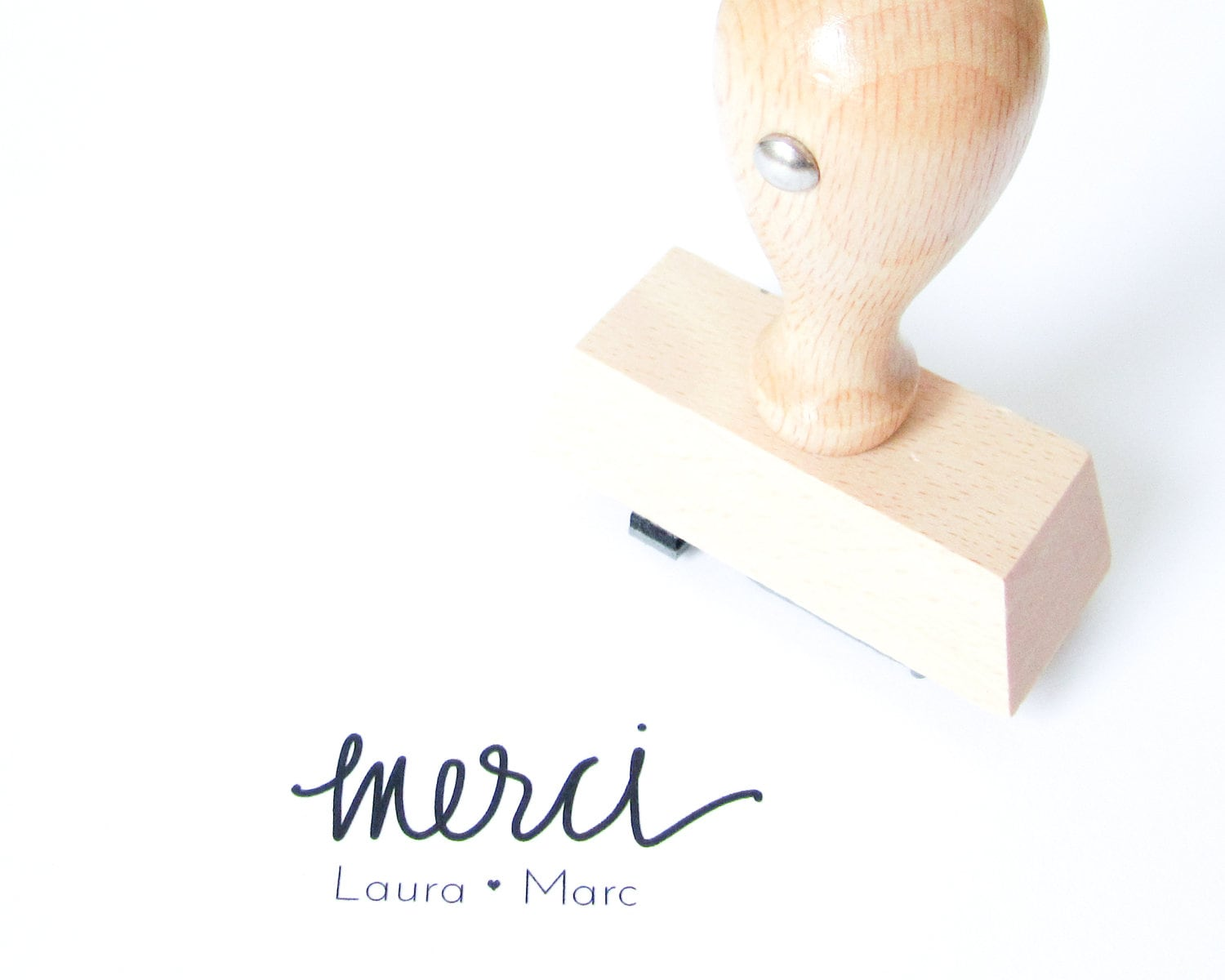 Personalized Wedding Calligraphy Merci Stamp Handwritten