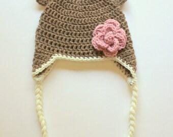 Baby Bear Crochet Earflap and Flower Hat