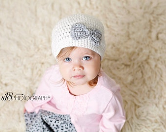 Baby Girl Crochet Hat- white with gray bow