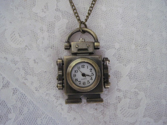 Steampunk Robot Watch Necklace - Steampunk Necklace - Jewelry by ThatsSoCoolStudio
