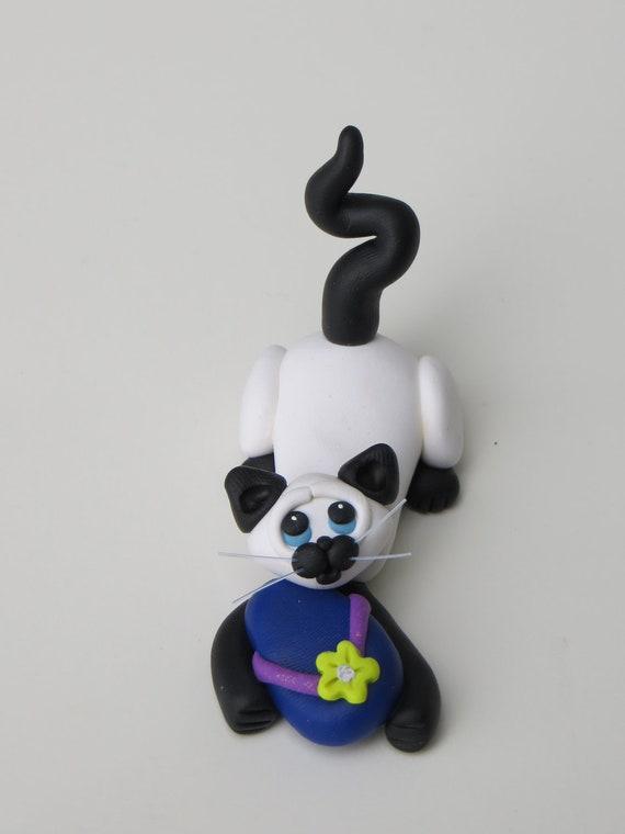 Siamese cat ringholder polymer clay figurine