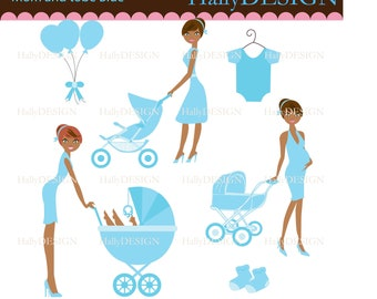 Mom To be in Blue Digital Clipart - Personal Commercial Use - Card Design, scrapbooking, web design Listing Stats