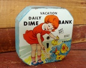 RESERVED FOR ALLEN:  Toy Coin Bank, Vintage Childrens Daily Dime Bank