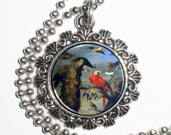 Bird's Concert Art Resin Pendant, Peacock, Parrot and other Birds, Frans Snyders Art, Photo Charm Necklace