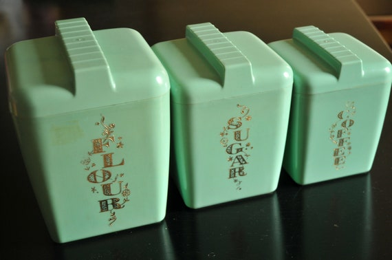 Vintage 1950s Turquoise Kitchen Set of 3 Mid Century Canisters 1950s 1960s Retro Kitchen Cottage Chic