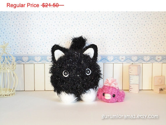 SALE kawaii amigurumi cat kitty black fuzzy Halloween Collectibles  - Ready to Ship