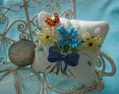 Blue and Yellow Butterfly Bouquet Mini Pillow