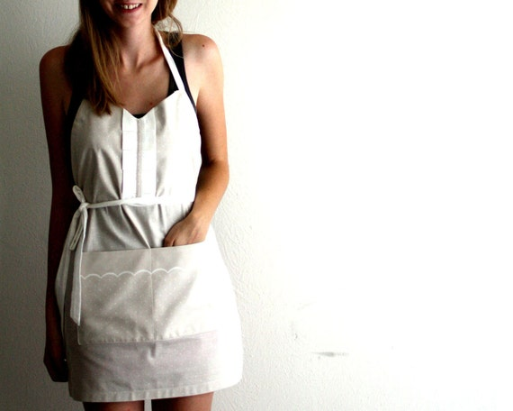 Gray Polka Dot Apron - light gray and white retro adjustable cotton hostess apron with ruffles, pockets