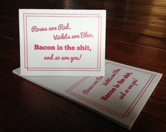 Bacon, Bacon Card, greeting card, birthday card, bacon greeting, thank you card, Bacon is the Shit - Individual Thank You Card