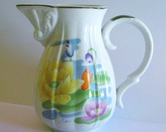 Seymour Mann Water Lily Porcelain Pitcher - Eda - Vintage - Collectibles - Vintage Wedding - Vase - Home Decor - Water Lily - Cottage Chic