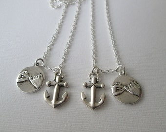 2 Small Anchor, Pinky Promise- Best Friends Necklaces/ Gift, bff, Couples necklace, his and hers, Pinky swear necklace, bff necklaces