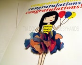 """Girl Power """"CONGRATULATIONS"""" Note Cards 3 Card Pack"""