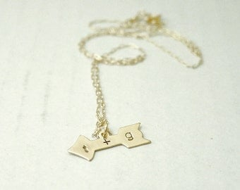 Initial arrow necklace - brass charm on gold filled - personalized custom