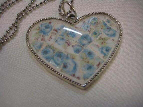 Broken China Mosaics-CHINTZ CHINA Large Mosaic Heart Pendant - Vintage China - Blue Chintz Roses - Broken China Heart Pendant