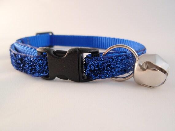Blue Glitter Cat Collar