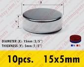 10 pcs. 15mmx5mm  Neodymium Rare Earth Super Strong Magnets