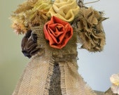 Burlap and Material Roses in Mason Jar