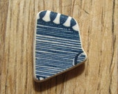 Seaglass Pottery- Blue and White Stripes- Jewelry Supplies- 7-50