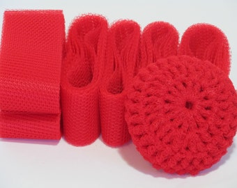 Scrubbie Supplies Red Nylon Netting Strips Ready To Crochet