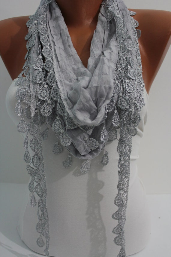 Light gray Shawl Scarf - Headband - Cowl with Lace Edge Spring Trends