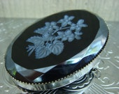 Cameo Etched Floral in black glass brooch