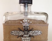 BACK IN STOCK Rustic, Shabby Chic Burlap Wrapped Soap/Lotion Pump with Crystal Queen Bee Brooch