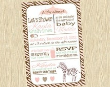 Zebra Baby Shower Invitation Girl Pink Brown - Shower Girl Zebra - Green - Umbrella Hearts - Words - Zebra Print - Text - Bottle Safety Pin