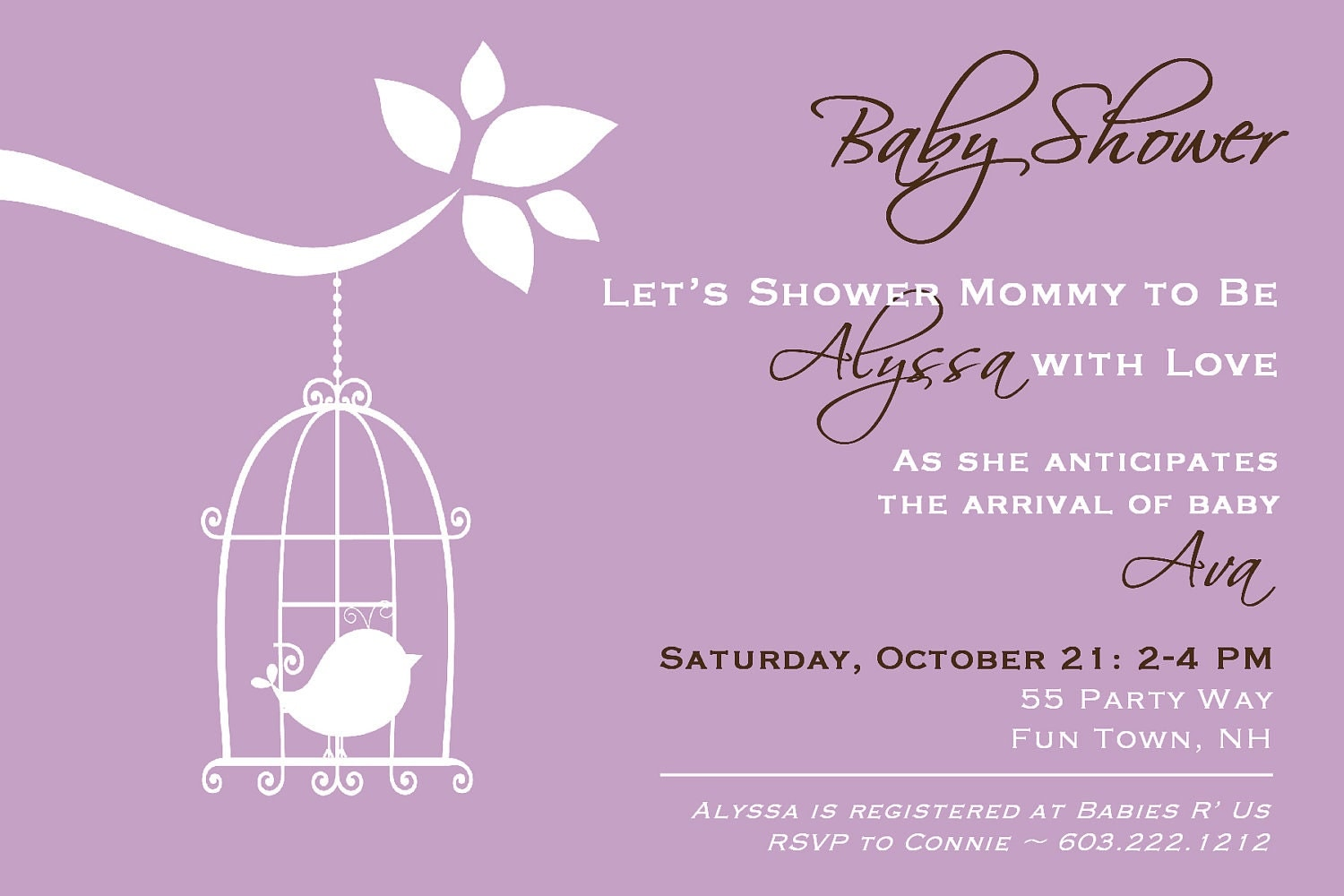 Bird Cage Baby Shower Invitation Girl Bird by AsYouWishCreations4u