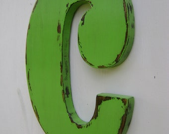 Shabby chic rustic wall hanging letters wood signs wall signs painted - Sour apple -wall hanging initials
