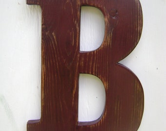 "Shabby chic wooden Letter, B Distressed Milk chocolate brown,Wood Alphabet Letters,12"" tall Wood Name Letters, Custom Wedding Gift"