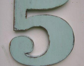 Rustic, wood number, 5 shabby chic, wall hanging, rustic wooden numbers, painted Spa Blu