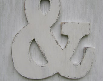 "Large ampersand wedding sign engagement photo prop -painted White, 18"" Tall , 16"" wide and 3/4"" thick"