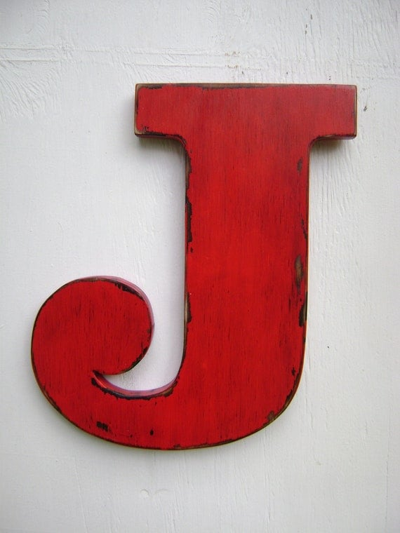 Items similar to wooden letters rustic wall decor shabby chic letter j big initals nursery - Wood letter wall decor ...