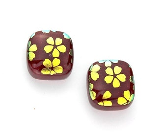 Fused Dichroic Glass Earring Cabochons in Garnet Red with Gold Cherry Blossom Flowers