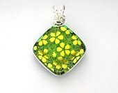 Silver Wire Wrapped Fused Spring Green Dichroic Glass Pendant with Gold Flowers