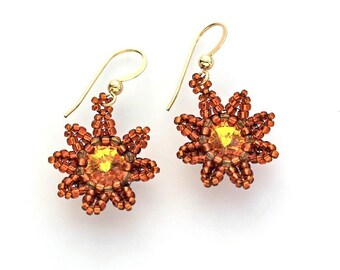 Beaded Flower Earrings in Sunflower Yellow Swarovski Crystal and Topaz Seed Beads