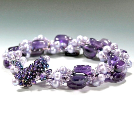 Amethyst Stone, Freshwater Pearl, and Seed Beads Spiral Stich Bracelet with Peyote Toggle Clasp