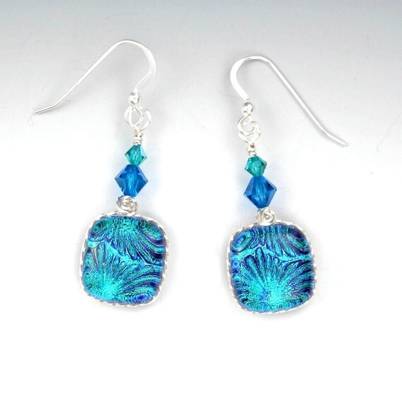 Silver Wire Wrapped Dichroic Glass Earrings, Turquoise Blue Teal with Swarovski Crystal